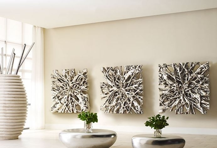 Square Root Wall Art Silver Leaf Modern Furnishings For Silver Wall Art (View 2 of 10)