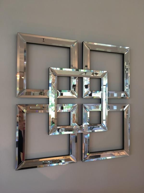Squares Venetian Mirror Superb Mirrored Wall Art – Wall Decoration For Mirrored Wall Art (Image 10 of 10)