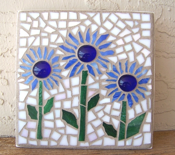Stained Glass Mosaic Wall Art Flower Wall Hanging Daisy Wall Decor Within Mosaic Wall Art (Image 8 of 10)