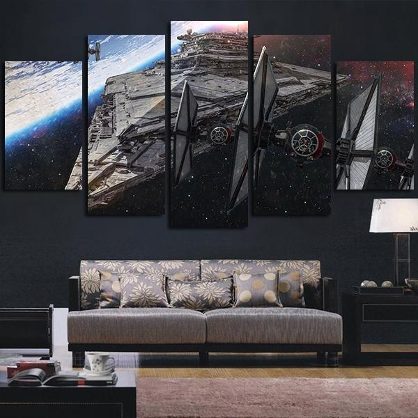 Star Wars Spaceship Destroyer | Star Wars Canvas Panel Wall Art With Star Wars Wall Art (View 6 of 10)