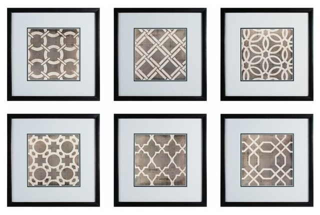 Sterling Industries Symmetry Blueprint 17X17 Framed Wall Art, Set Of Pertaining To Wall Art Sets (Image 6 of 10)
