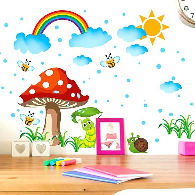 Stickers For Kids Kids Wall Art Enchanting Sun Rain And Rainbow Wall Within Kids Wall Art (Image 10 of 10)
