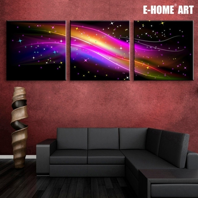 Stretched Canvas Prints Gorgeous Color Led Flashing Optical Fiber With Regard To Led Wall Art (Image 10 of 10)