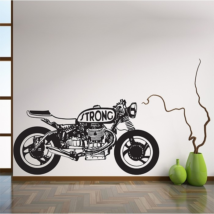 Strong Sport Motorcycle Vinyl Wall Art Decal In Motorcycle Wall Art (Image 8 of 10)