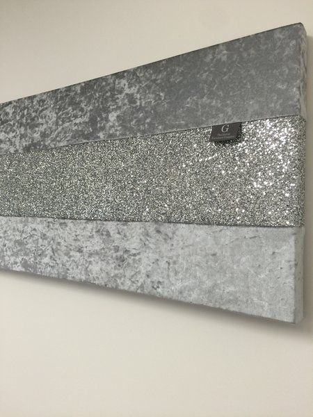 Stunning Gunmetal Grey Crushed Velvet With Silver Glitter Wall Art Inside Silver Wall Art (Image 9 of 10)