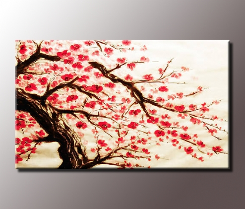 Stunning Red Cherry Blossom Painting 34X20 Inch Canvas Wall Art Print Intended For Cherry Blossom Wall Art (View 9 of 10)
