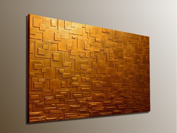 Stylish Bronze Wall Art In Panel Large 3D Textured Decorations 4 With Bronze Wall Art (Image 9 of 10)
