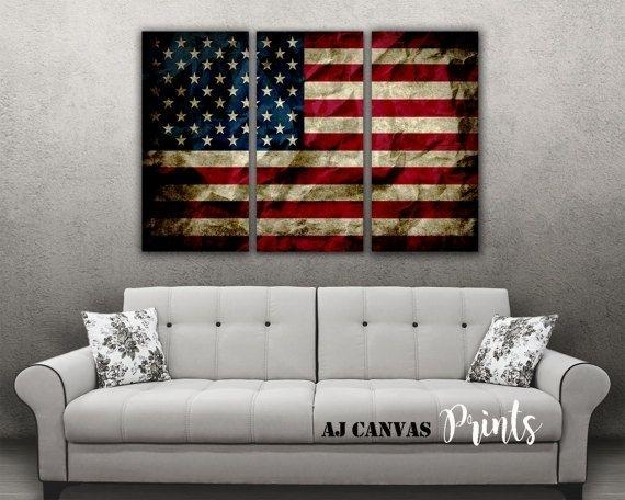 Summer Sale American Flag Wall Art, American Flag Print, Vintage Inside Vintage American Flag Wall Art (Image 9 of 10)