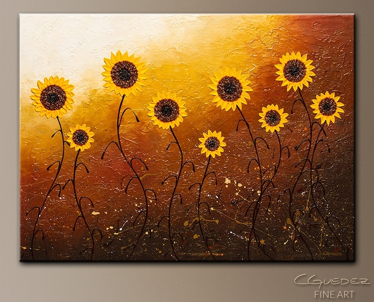 Sunflower Meadow – Abstract Art – Large Original Abstract Painting With Regard To Sunflower Wall Art (Image 8 of 10)