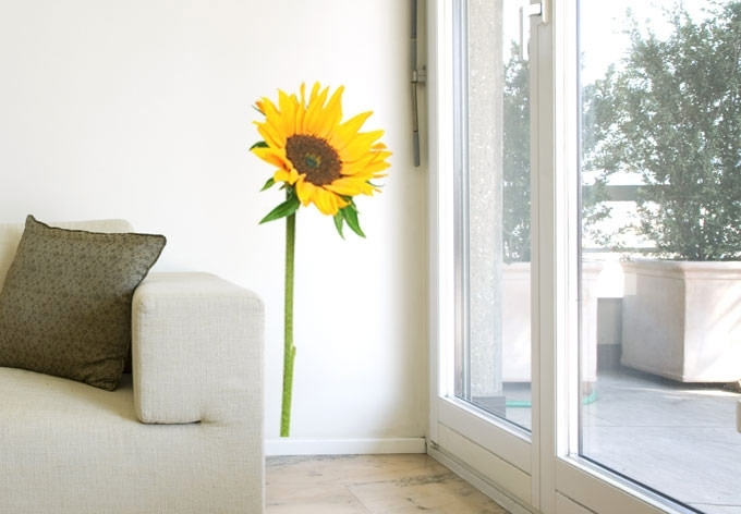 Sunflower Wall Decal – Beautiful Floral Home Decor Inside Sunflower Wall Art (Image 10 of 10)