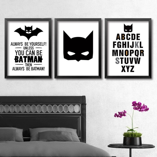 Superhero Batman Wall Art, Modern Poster Canvas Printings Wall Art Intended For Batman Wall Art (View 2 of 10)