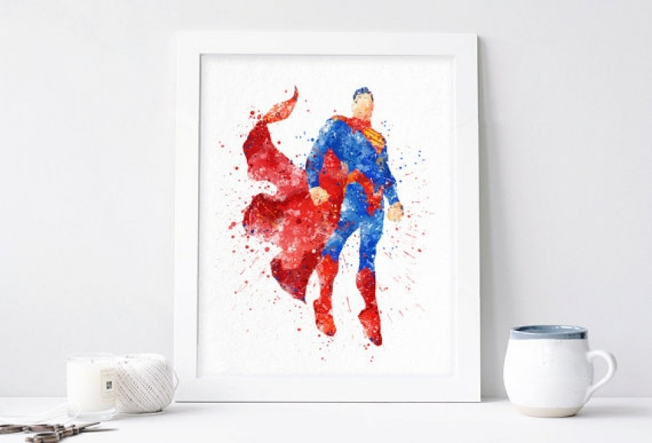 Superman Poster – Watercolor Superhero Wall Art Printables Dc Comics With Superhero Wall Art (Image 8 of 10)