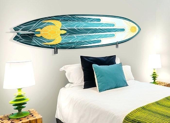 Surfer Wall Decor Surfboard Wall Decoration Blue Beautiful Surf Regarding Surfboard Wall Art (Image 8 of 10)
