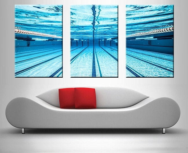 Swimming Pool Underwater Triptych Prints On Canvas For Triptych Wall Art (Image 8 of 10)