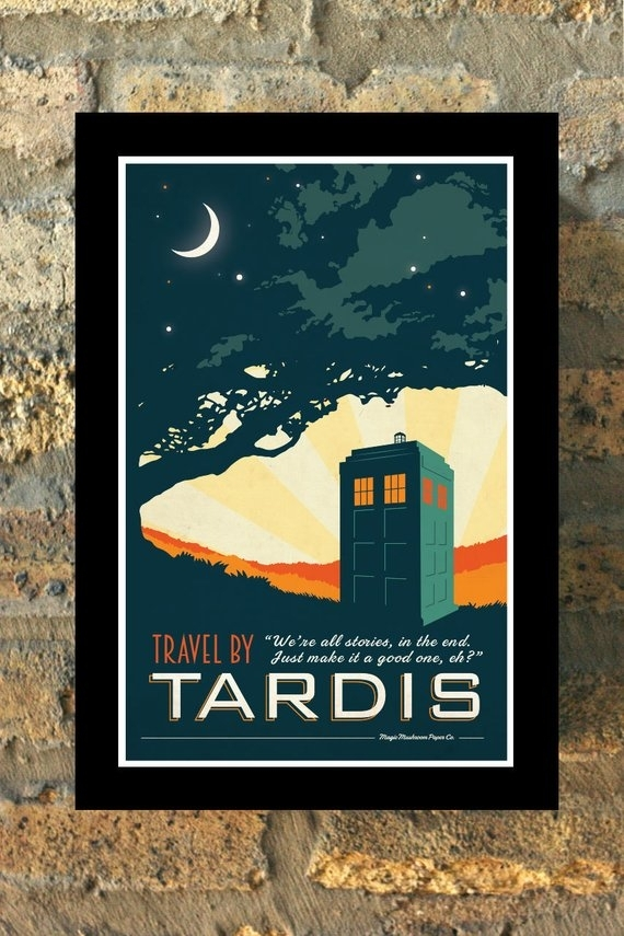 Tardis Doctor Who Travel Poster Vintage Print Geekery Wall Art | Etsy In Doctor Who Wall Art (Image 8 of 10)