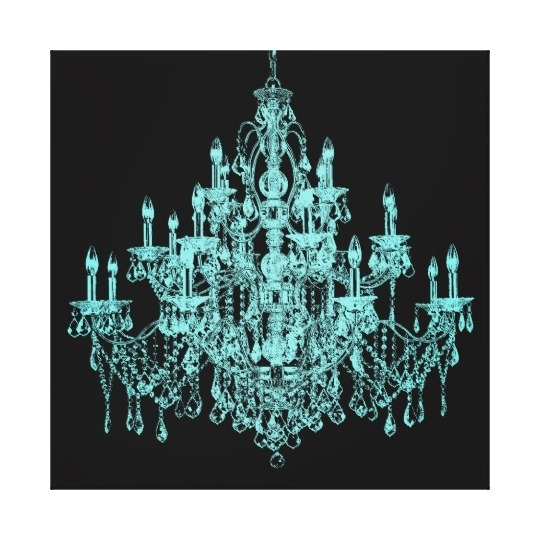 Teal Blue Chandelier Canvas Wall Art Print | Zazzle With Regard To Chandelier Wall Art (Image 10 of 10)