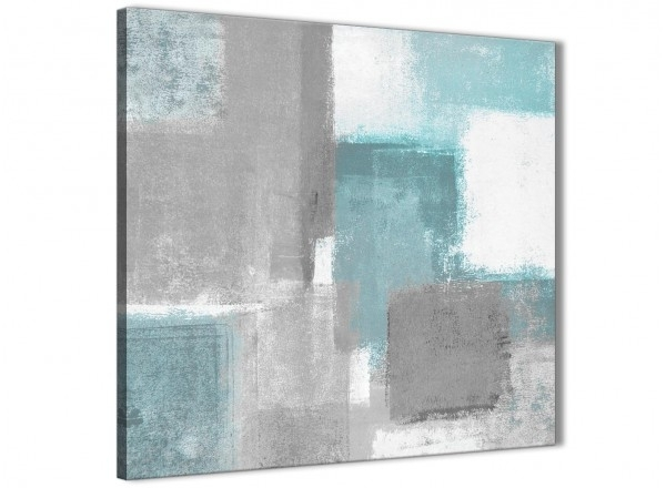 Teal Grey Painting Abstract Dining Room Canvas Pictures Decorations Intended For Gray Canvas Wall Art (Image 8 of 10)