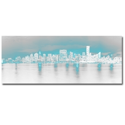 Teal Wall Art On Canvas. Modern New York Artwork (Image 10 of 10)
