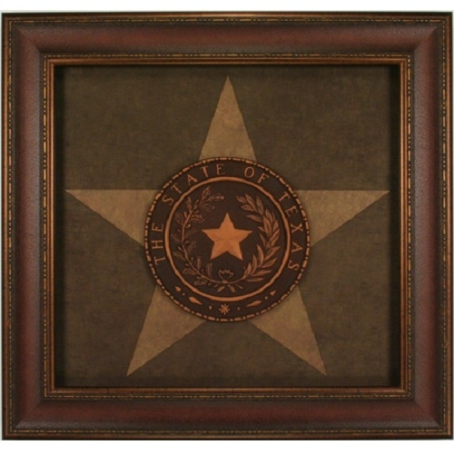 Texas Seal Western Art Rustic Wall Decor Framed Lone Star State Inside Texas Wall Art (Photo 3 of 10)