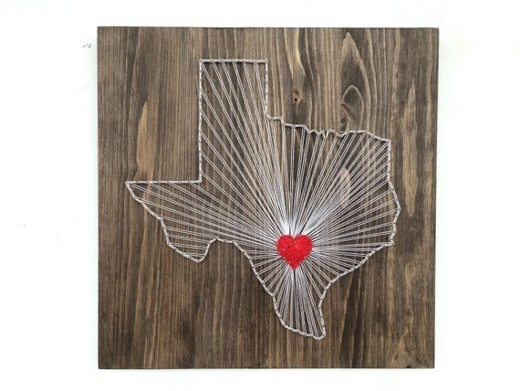 Texas String Art Texas Wall Art Home Decor | Etsy Inside Texas Wall Art (Image 8 of 10)