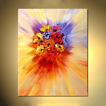 Texture Modern Abstract Flower Wall Art Acrylic Canvas Oil Painting Inside Modern Abstract Painting Wall Art (View 7 of 10)