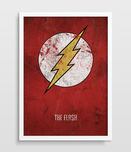 The Flash Poster Superhero Wall Art Distressed Art Print Dc Comics With Superhero Wall Art (Image 9 of 10)