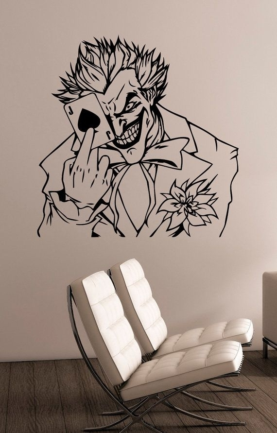 The Joker Wall Art Decal Vinyl Sticker Dc Comics Antihero Art Throughout Joker Wall Art (Image 7 of 10)