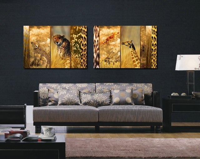 The Leopard And Long Deers Canvas Prints Home Decor Modern Animal Intended For Long Canvas Wall Art (Image 9 of 10)