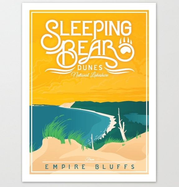 The Mighty Mitten – Sleeping Bear Dunes Michigan Travel Art Prints For Michigan Wall Art (View 5 of 10)