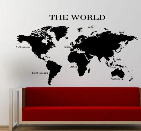 The World Map Wall Art Sticker Planet Earth Decal V1 Within Wall Art Stickers World Map (Image 8 of 10)