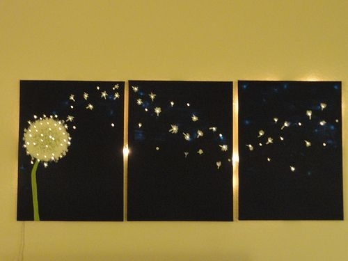 Three Panel, Dandelion Wall Art That Lights Up | Pinterest With Regard To Lighted Wall Art (View 8 of 10)