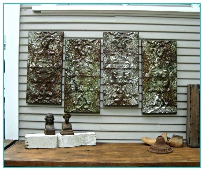 Tin Wall Art Five Piece Canvas Wall Art Pressed Tin Wall Art Vintage Within Tin Wall Art (Image 3 of 10)