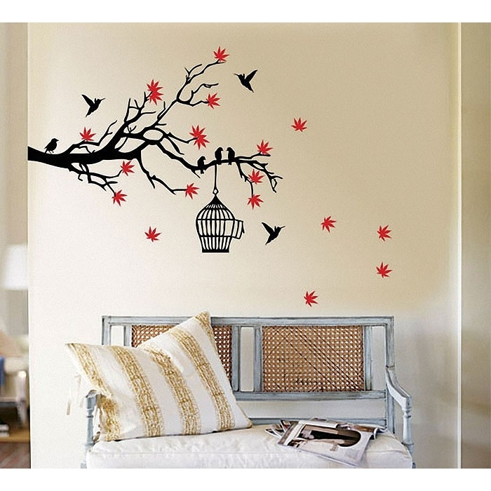 Tree Branch Blossoms With Birds And Birdcage Wall Art Decal With Regard To Bird Wall Art (Image 9 of 10)