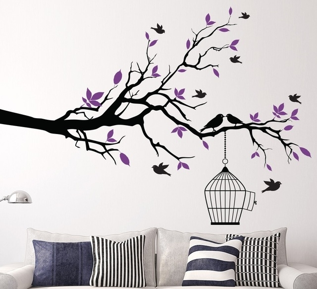 Tree Branch Wall Art Sticker With Bird Cage Removable Vinyl Wall Intended For Home Decor Wall Art (Photo 10 of 10)