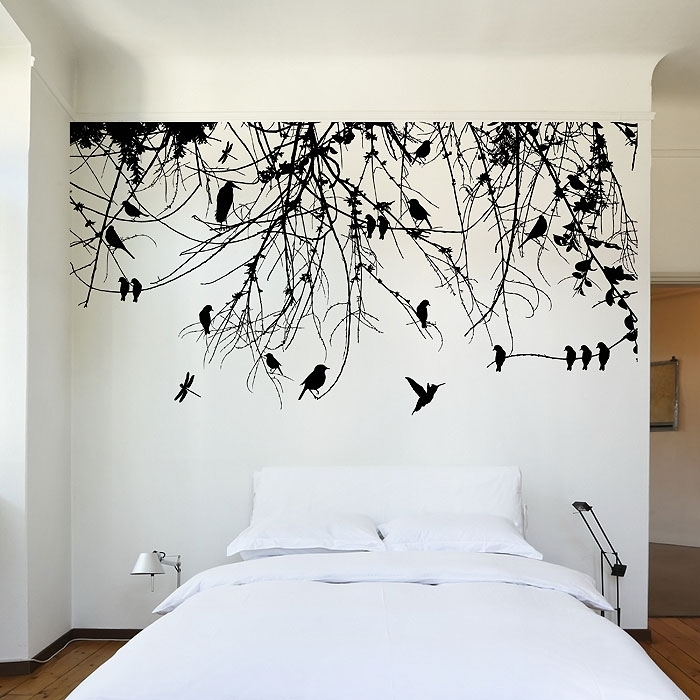 Tree Branch With Birds And Dragonfly Vinyl Wall Art Decal For Wall Art Decals (Image 10 of 10)