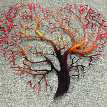Tree Heart Metal Wall Art – Tree Metal From Inspiremetals On Etsy Pertaining To Tree Of Life Metal Wall Art (Image 6 of 10)