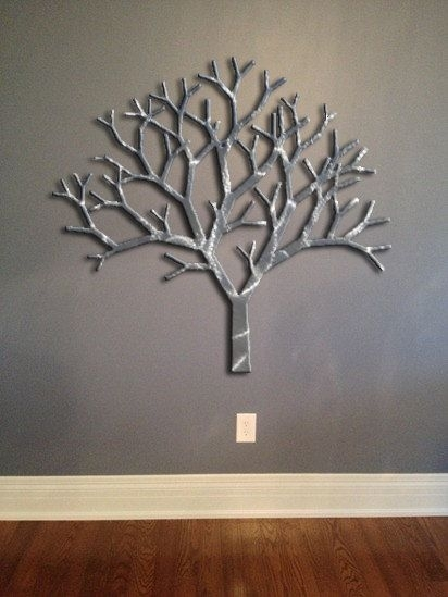 Tree Metal Wall Art – Silver Wall Decor – Tree Art – Metal Art Within Metal Wall Art Trees (Image 8 of 10)