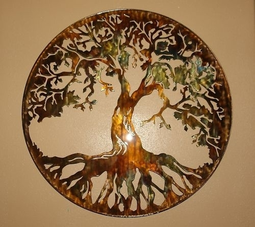 "Tree Of Life Metal Wall Art 24"" With Led Lightshgmw Regarding Tree Of Life Metal Wall Art (Photo 2 of 10)"