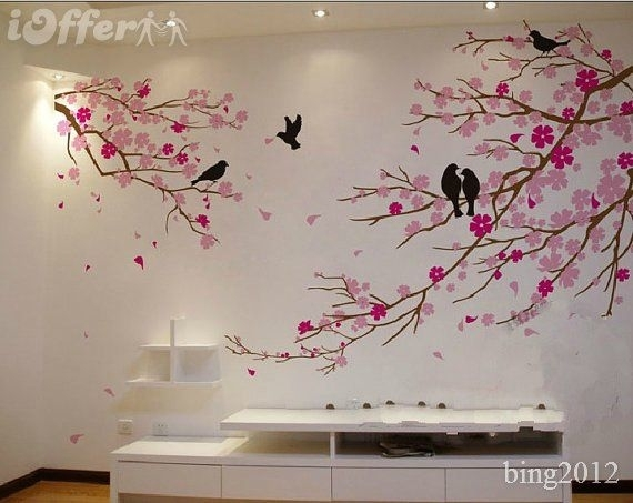 Tree Wall Art | Cherry Blossom With Birds Wall Decal Tree Wall Decor Throughout Cherry Blossom Wall Art (Image 10 of 10)