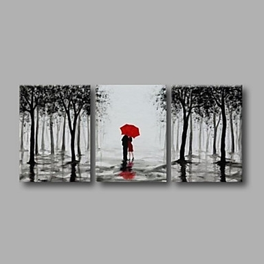 Trees Black Grey Landscape Oil Painting Wall Art Modern Canvas Art In Grey Wall Art (Photo 6 of 10)