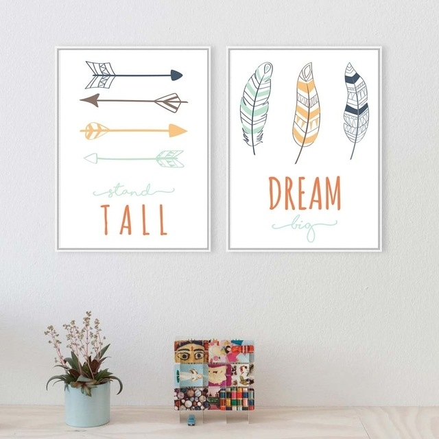 Tribe Deer Feather Arrow Wall Art Canvas Poster Nursery Quote Prints Regarding Arrow Wall Art (View 3 of 10)