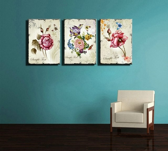 Triptych Cheap Modern Canvas Prints Rose Drawing Picture Wall Art Pertaining To Cheap Canvas Wall Art (Image 10 of 10)