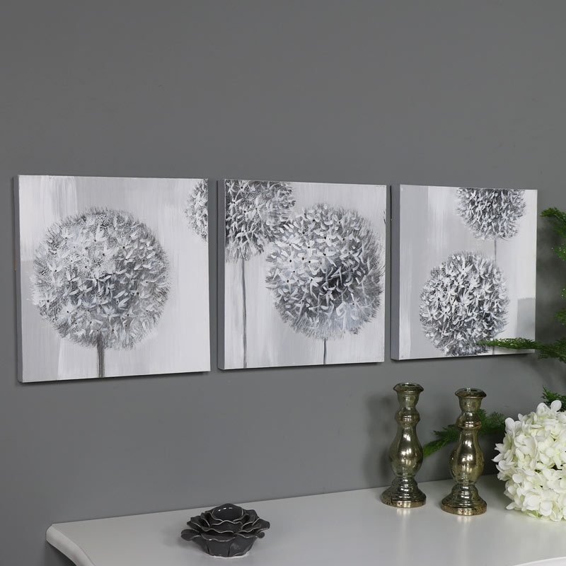 Triptych Wall Art Grey Flower Canvas Print – Melody Maison® Regarding Grey Wall Art (View 2 of 10)