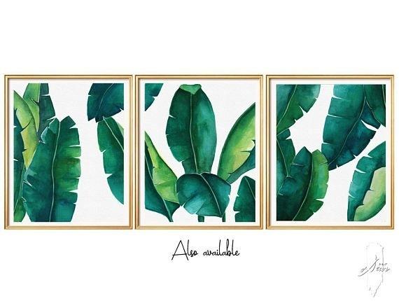 Tropical Leaves Set, Banana Leaf, Set Of 3 Wall Art, Set Of 3 Prints Intended For Tropical Wall Art (Photo 5 of 10)