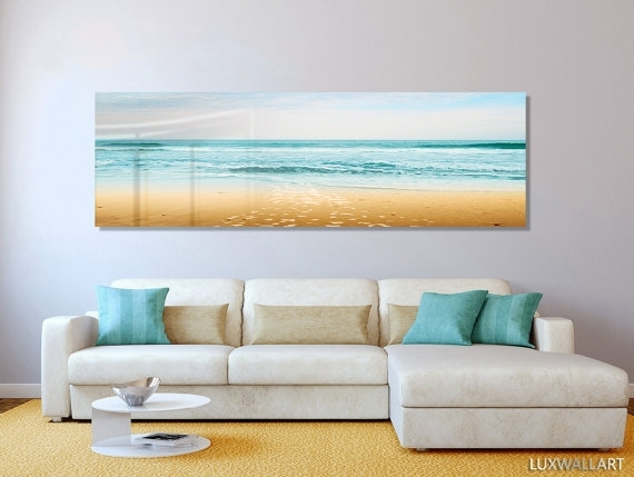 Turquoise Beach Ocean Panoramic Modern Contemporary Hd Metal Wall Throughout Panoramic Wall Art (Image 9 of 10)