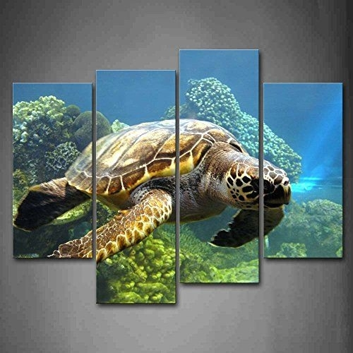 Turtle Swimming In Bottom Of Sea Wall Art Painting The Picture Print Within Sea Turtle Canvas Wall Art (Image 10 of 10)