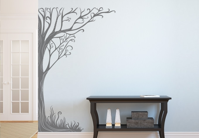 Twine Corner Tree Wall Decal – Floral Vinyl Art Intended For Tree Wall Art (View 7 of 10)