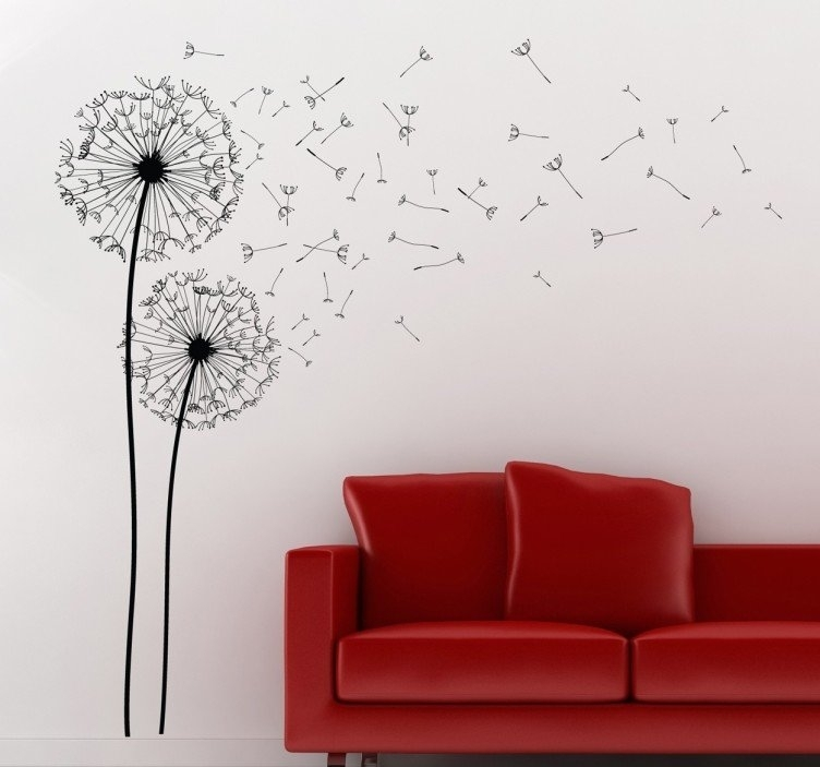 Two Dandelions Wall Art Decal – Tenstickers Throughout Dandelion Wall Art (Photo 8 of 10)