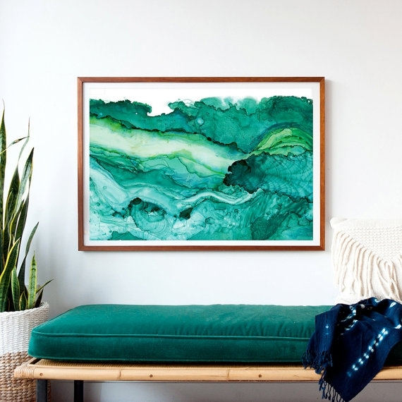 Undercurrent Emerald Ink: Framed Art Print, Ocean Art, Surf Inside Oversized Teal Canvas Wall Art (Image 8 of 10)