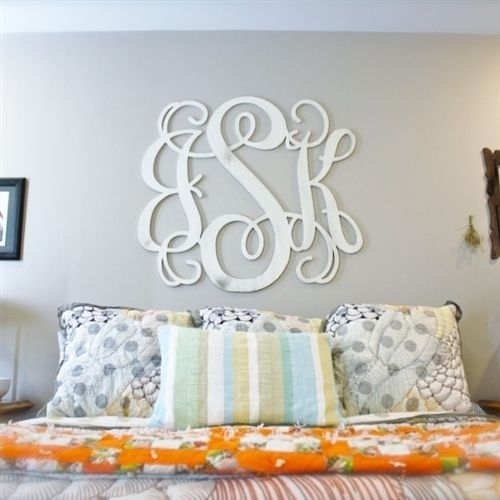 Unfinished Wooden 3 Letter Vine Personalized Custom Monogram Wall Regarding Monogram Wall Art (Photo 2 of 10)